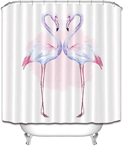 Douchegordijn Flamingo polyester stof waterdicht en meeldauw 3D Hd afdrukken huisdecoratie 180x 200cm 12 haken