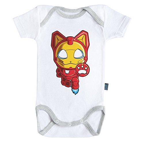 Baby Geek Iron Cat - Body Bébé Manches Courtes - Coton - Blanc - Coutures Grises (6-12 Mois)