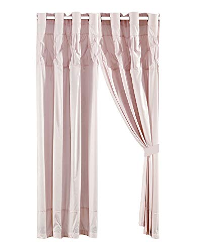 WPM 4 Piece Curtain Set; 2 Panels and Tie Backs Pintuck Designs Color Drapes- JN1 (Rose)