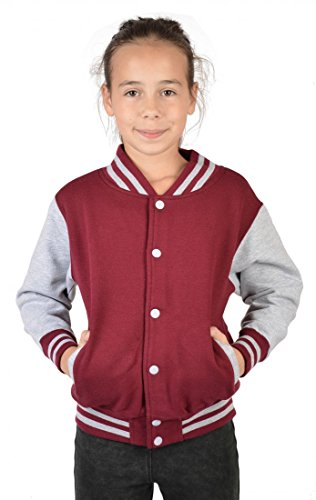 Goodman Design  USA Mädchen Collegejacke in Bordeaux rot - Butterfly - Kinder Schul Jacke mit Motiv Schmetterling - Geschenk, Kinder...