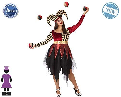 Atosa-61560 Atosa-61560-Disfraz Arlequin-Adulto Mujer, Color rojo, XL (61560 , color/modelo surtido