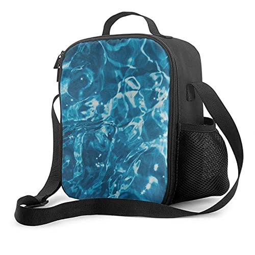 Bolsa de almuerzo para hombres, azul turquesa, ondas, con aislamiento de agua, para preparar comidas, lonchera, niños grandes, niñas, mujeres adultas, enfriador térmico, bolsa de asas para el almuerz