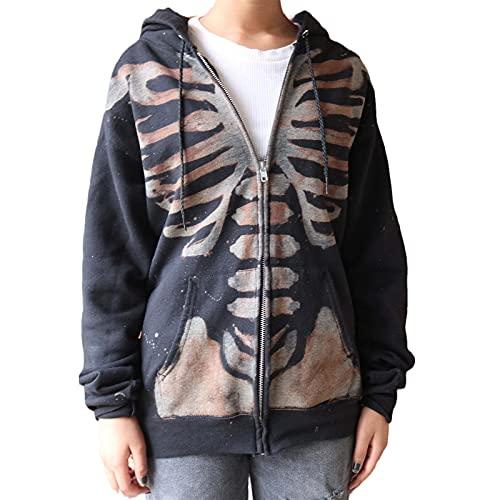 Women's Y2K Casual Zip Up Hoodie Gery, Rhinestone Vintage Print Long Sleeve Skeleton Oversized Loose Sweatshirts with Pockets (C#Black, Small)