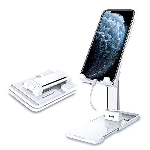 【2020最新版】ZHIKE スマホスタンド 角度、高度、表面、下部幅調整可能,折り畳み式,携帯電話ホルダー、卓上 携帯スタンド,タブレットスタンド,iphoneスタンド,持ち運びやすい,滑り止め,便利充電,アルミ合金素材,ipad,iPhone 12/11 Series/XS/XR/X/ 8/8 Plus,サムスンGalaxy S10 S9 S8 Plusなどに対応 [アップグレード-白]