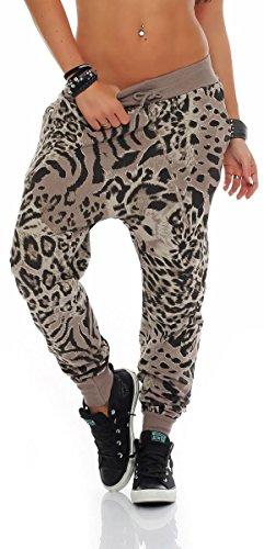 Malito Damen Sweatpants im Leo Design   Sporthose mit Reißverschluss   Baggy zum Tanzen   Jogginghose - 3344 (Fango)