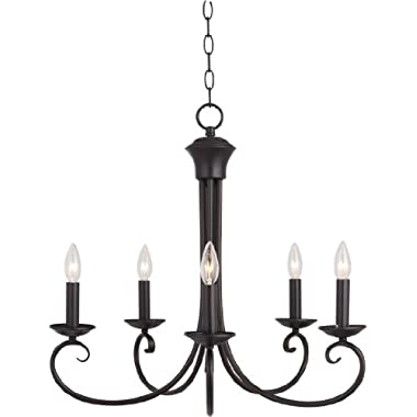 Maxim 70005OI Loft 5-Light Chandelier, Oil Rubbed Bronze Finish, Glass, CA Incandescent Incandescent Bulb, 60W Max, Wet Safety Rating, Standard Dimmable, Glass Shade Material, 672 Rated Lumens