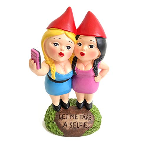 VASTAIR Garden Gnome Statue, 6.7' Tall Polyresin Christmas Ornaments Art Crafts for Lawn, Indoor and Outdoor Decorations(Two Sisters)