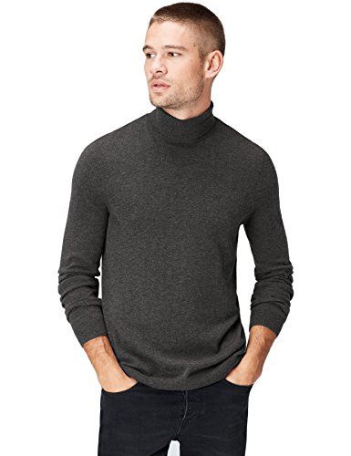 Marca Amazon - find. Roll Neck - Suéter Hombre, Gris (Mid Grey), L, Label: L