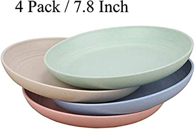 """Wheat Straw Plastic Plates Dinnerware Set/Reusable-Unbreakable Dinner Plate/Eco Friendly-Dishwasher & Microwave Safe, BPA Free And Healthy Cereal Dishes/Kids-toddler & Adult (7.8"""" plate x 4pc)"""