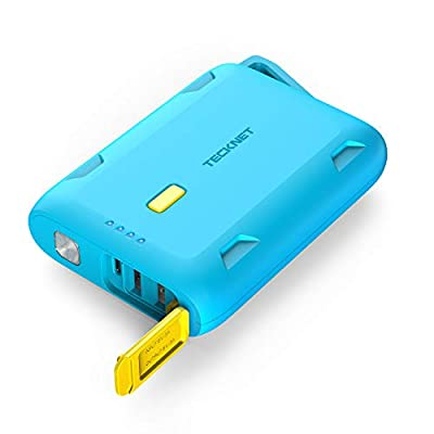 TeckNet Power Bank 10000mAh Rainproof USB C Portable Charger, Outdoor External Battery Pack with 2 Output, LED Flashlight, Compatible with iPhone, iPad, Samsung Galaxy, Android and Other Smart Devices
