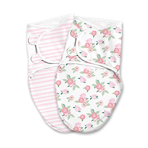 SwaddleMe Luxe Easy Change Swaddle – Size Small/Medium, 0-3 Months, 2-Pack (Water Color Floral)