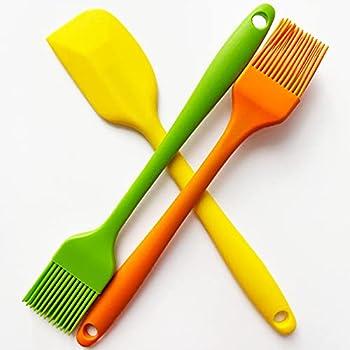 POTALL Food Brush Spatula Basting Brush for Cooking Silicone Brush Pastry Brush for Baking Barbecue Brush Cream Spatula Family Kitchen Set 2 Brushes and 1 Spatula  3PCS