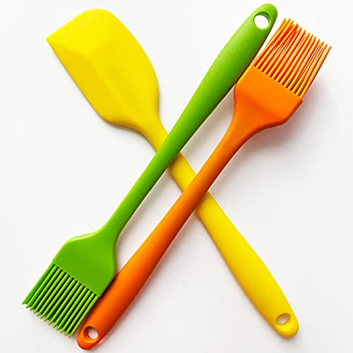 POTALL Food Brush Spatula, Basting Brush for Cooking, Silicone Brush, Pastry Brush for Baking, Barbecue Brush, Cream Spatula, Family Kitchen Set, 2 Brushes and 1 Spatula (3PCS)