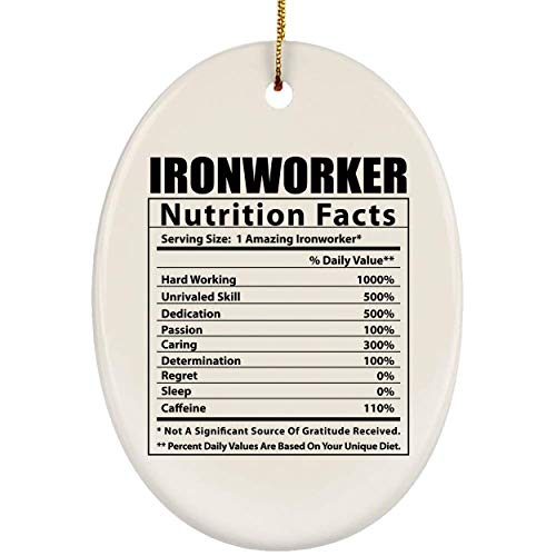 Lovesout Funny Ironworker Nutritional Facts Christmas Tree Ornament Oval Ceramic