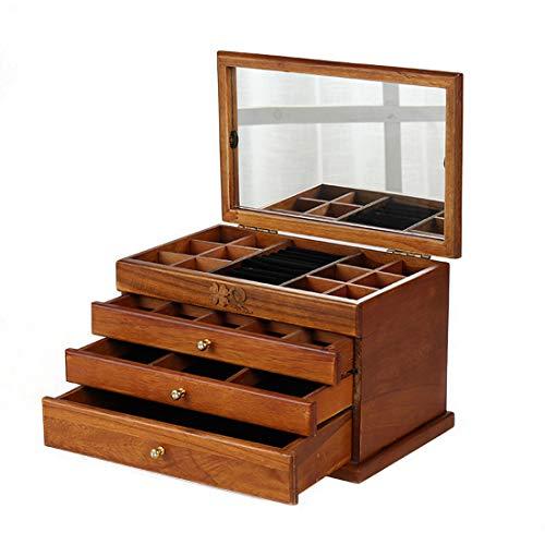 LIBILAA Boîte à maquillage antique en bois avec miroir (Couleur : Marron)