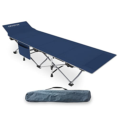 GETOVIN Folding Camping Cots Portable Travel Sleeping Cots 450LBS(Max Load) Comfortable Double Layer Oxford Heavy Duty Fordable Bed with Carry Bag for Adult,Teen,Office/Home Nap,Beach Vocation