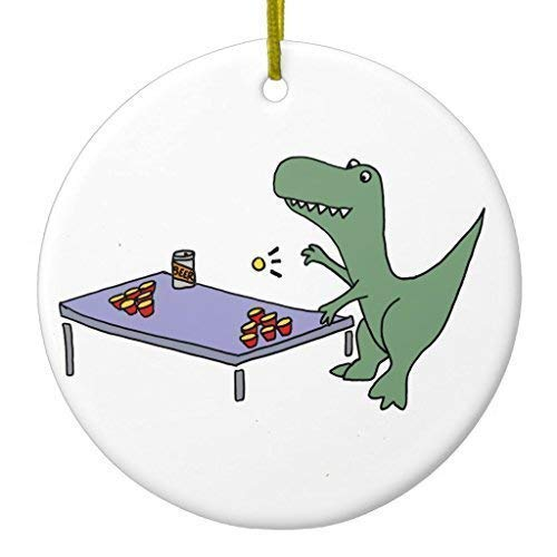 DKISEE Ornament Weihnachtsdekoration zum Aufhängen, lustiges T-Rex Dinosaurier spielt Bier Pong Ornament 7,6 cm Kreis Keramik Ornament Andenken Deko Weihnachtsbaum Hängeornament
