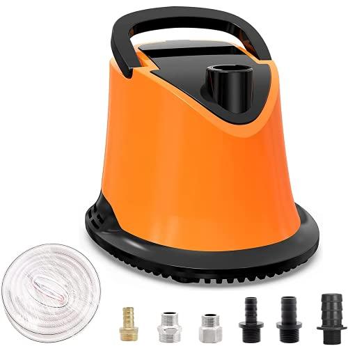 Bomba sumergible con manguera, bomba para aguas residuales de 220 V con cable de alimentación largo de más de 25 pies, 6 adaptadores para tubos flexibles (mandarina)