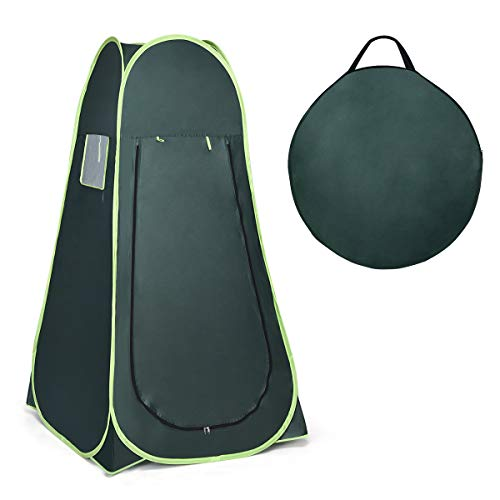 COSTWAY Outdoor Pop up Tent Portable Camping Instant Toilet/Shower/Changing Privacy Room Tent (Dark Green)