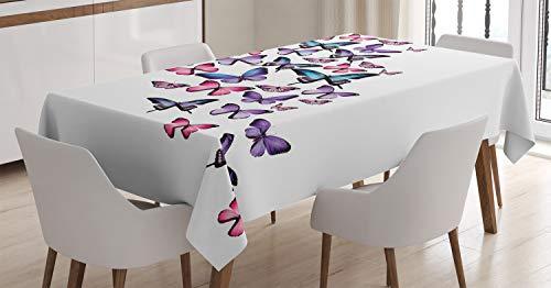 ABAKUHAUS Farfalle Tovaglia, Ali Femminile, Rettangolare per Sala da Pranzo e Cucina, 140 x 200 cm, Viola Rosa Blu