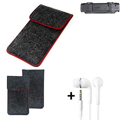 K-S-Trade® Handy Schutz Hülle Für Simvalley Mobile SPT-210 Schutzhülle Handyhülle Filztasche Pouch Tasche Case Sleeve Filzhülle Dunkelgrau Roter Rand + Kopfhörer