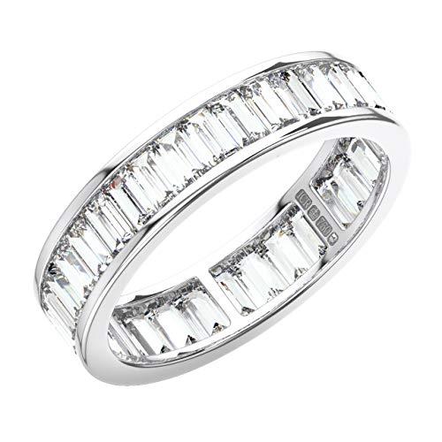 Anillo de eternidad con diamantes de corte baguette de 3 quilates en oro blanco de 18 K