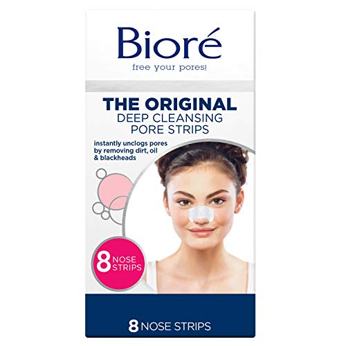 Bioré Original, Deep Cleansing Pore Strips, Nose Strips for Blackhead Removal, with Instant Pore Unclogging, 8 Count, features C-Bond Technology, Oil-Free, Non-Comedogenic Use