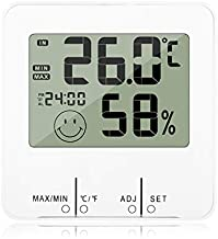 Digital Indoor Thermometer Hygrometer with Clock Humidity Gauge Indicator Room Thermometer with Min and Max Records Accurate Temperature Humidity Monitor Meter with Time Alarm Clock Function f (White)
