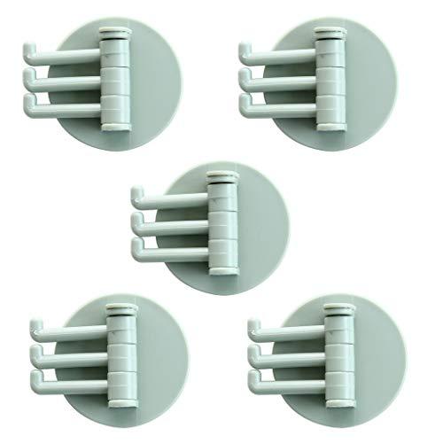 5PCS Selbstklebend Handtuchhaken, 3-Hook Bademantelhaken Haken Wandhaken rostfrei Bad und Küche Bathroom Kitchen Hook Handtuchhalter Kleiderhaken Ohne Bohren (Grün)