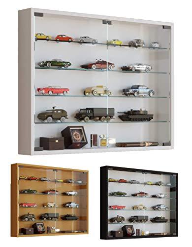VCM Mandosa L, verzamelvitrine, wandvitrine, wandkast, plank, hangvitrine hout, beuken, 60 x 80 x 10 cm