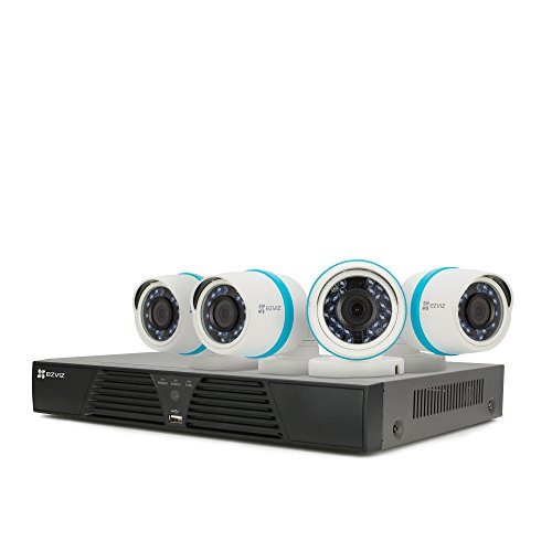EZVIZ FULL HD 1080p Outdoor IP PoE Surveillance System, 4 Weatherproof HD Security Cameras, 4 Channel 1TB NVR Storage, 100ft Night Vision, Customizable Motion Detection, ONVIF Compliant