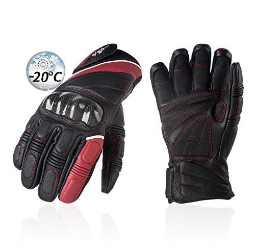 Vgo. 1Paar -4°F/-20°C of hoger Waterdichte Top Grain Geit Lederen Heavy Duty Alpine Skiing Handschoenen, Impact Reduction, Carbon Fiber Protective Pads (Zwart, GA2465FW)