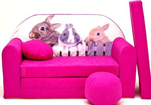 Pro Cosmo H25Kids Schlafsofa mit Puff/Fußbank/Kissen, Stoff, pink, 168x 98x 60cm