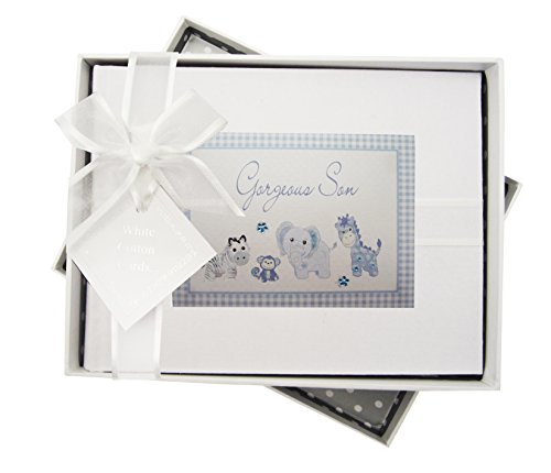 White Cotton Cards Album photo fait à la main Motif inscription Gorgeous Son, animaux et tissu vichy Bleu