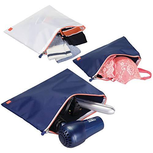 mDesign Juego de 3 bolsas con cremallera para viaje – Prácticos organizadores de maletas y bolsos de deporte – Versátiles accesorios de viaje de diferentes tamaños – azul marino/blanco/naranja