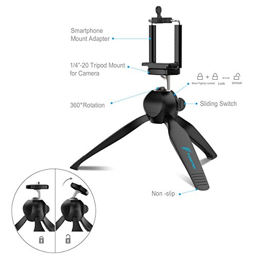 Fugetek Mini Tripod Table Top Stand and Phone Mount, Compact, Travel Ready, Use with FaceTime, Video Calls, Compatible with Gopro, Smartphones, iPhone, Samsung, Compact Cameras, DSLRs, Selfie Stick