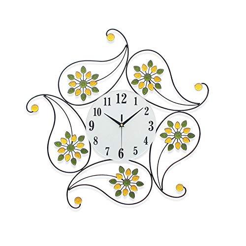 Luyshts Reloj moderno de hierro simple y elegante redondo reloj silencioso sala de estar reloj de pared personalidad europea 62 cm x 62 cm