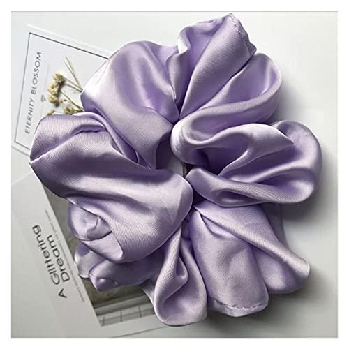 Cuerda de pelo Playas de gran tamaño para las mujeres Sólido Satén Silida Scrunchie Bandas de goma para el cabello Elástico Pelo Lazos Accesorios Accesorios Ponillo de caballo ( Color : Light Purple )