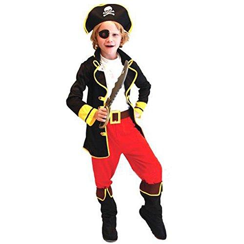 Odziezet Déguisement Enfant Costume Capitaine Pirate De Haute Mer Chapeau Garçon Fille Costume Halloween Cosplay Party,Multicolore,10-12 ans