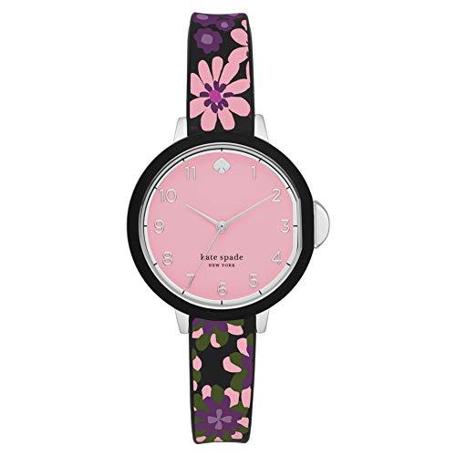 KATE SPADE Park Row Reloj de Silicona Multicolor para Mujer con Tres manecillas y Estampado Floral KSW1614