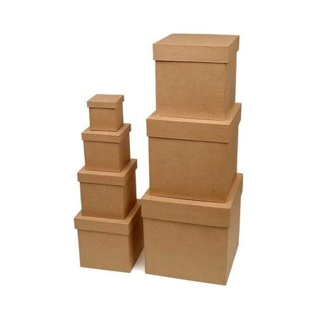 4 Boxes Factory Direct Craft Assorted Size Unfinished Paper Mache Book Boxes