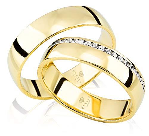 2 x Trauringe 585er Gelbgold 20 x Zirkonia Massiv Hochzeitsringe Eheringe Paarpreis inkl. Gravur Etui