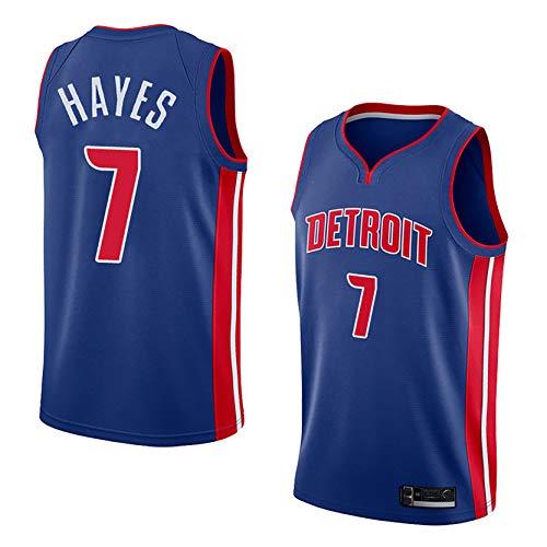 DSASAD Jersey De Baloncesto Unisex, Detroit Pistons # 7killian Hayes # Camiseta De Chaleco De Swingman De Baloncesto, Fibra De Poliéster, Secado Rápido Y Transpirable Blue B-M
