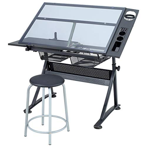 Adjustable Drawing Table Tilting Tempered Glass Tabletop Artist Desk With 2...
