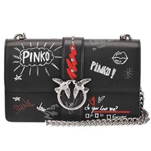 Pinko Love Bag, Graffiti Fashion Lady Borsa a tracolla Crossbody Bag, fatta a mano in pelle di alta qualità, Nero (Nero), Small