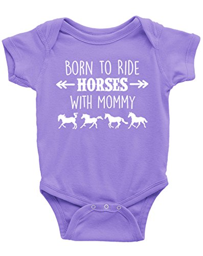 Born to Ride Horses with Mommy, Short Sleeve Horse Bodysuit, Baby Girl (12 Months, Lavender)