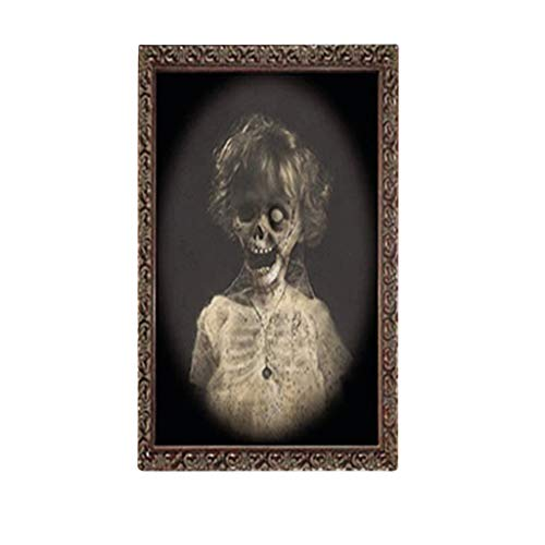 Sayla Halloween Dekoration Horror Bilderrahmen Lentikular 3D wechselndes Gesicht Scary Portrait Haunted Spooky (D)