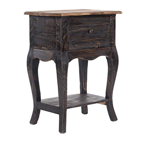 DESIGN DELIGHTS Table de Téléphone G54060 | 63,5 x 45,7 x 35,6 cm, Noir nature, Bois recyclé | Table d'appoint