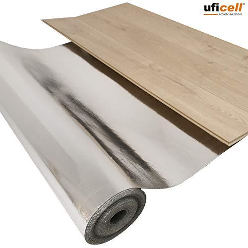 uficell® Akustik Trittschalldämmung [5m²] - Stärke: 2 mm - Silence Floor Akustik ALU - Perfekte Gehschalldämmung für Laminat und Parkett mit Alu-Dampfbremse - Raumdichte: 1000 kg/m138