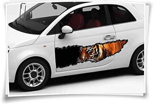 Medianlux Auto-Aufkleber Seitenstreifen Tieger Löwe Abstrakt Wild Feuer Airbrush Folie Tuning